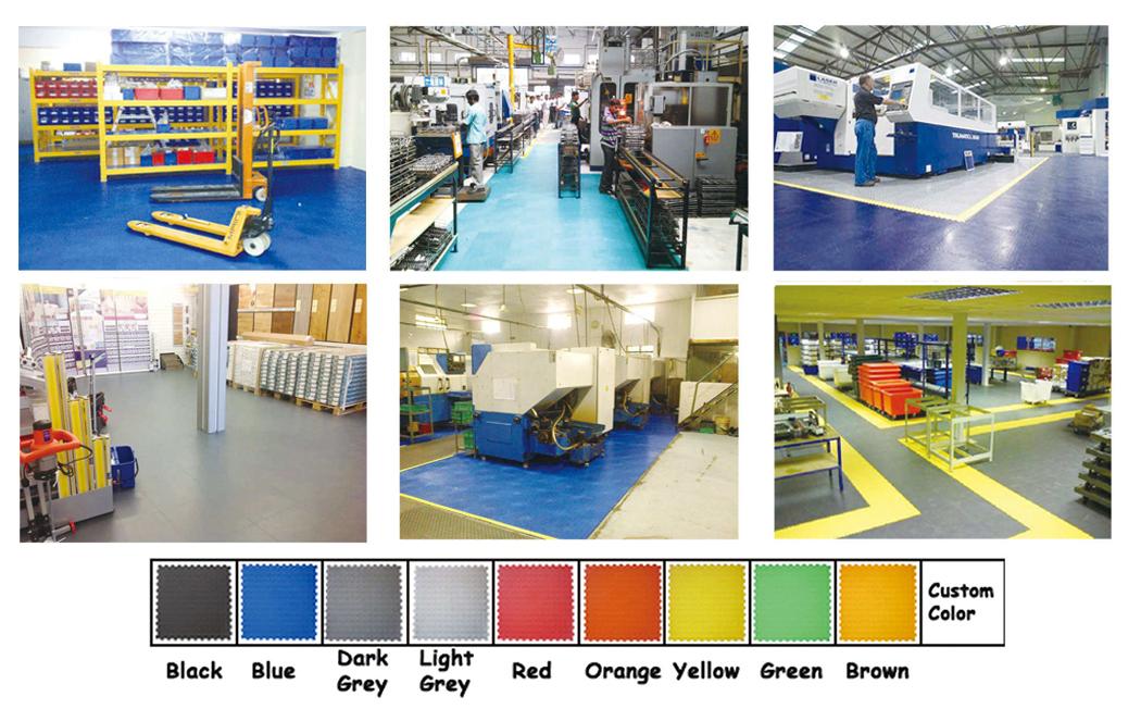 Display cases industrial PVC tiles