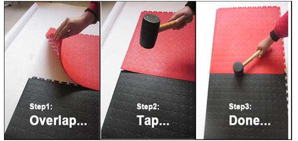 installation inside interlocking PVC tiles