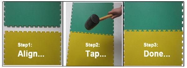 installation interlocking PVC tiles